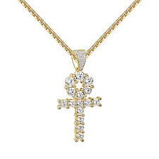 Egyptian Ankh Cross Pendant For Mens Womens Solitaire Lab Diamonds Free Necklace