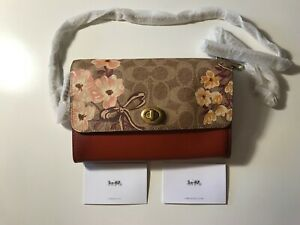 NEW Coach F66667 Marlow Turnlock Chain Floral Crossbody Purse TAN $195