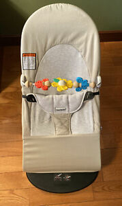 BABYBJORN Bouncer Balance Soft-Beige Grey Cotton / Jersey with Toy Bar