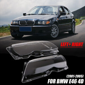 For BMW E46 3 Series 2001-2005 Pair Polycarbonate Headlight Lens Headlamp Cover