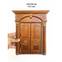 Decorated Victorian double door handcrafted for 1:12 dollhouse miniature Walnut