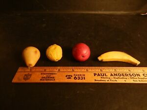 Vintage Italian Alabaster Marble Stone Miniature Fruit Banana, Lemon Pear & Plum