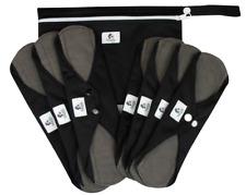 8 pcs Set - Black Reusable Sanitary Pads Cloth Towels Bamboo Charcoal