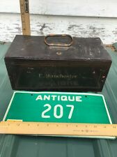 VTG Old Metal Money Cash BOND Jewelry Strong Lock Box Chest E. Manchester Family