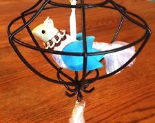 Nwt Pottery Barn Wire & Crystal Bird & Cage Hanging Pendant Mobile Hang Crystals