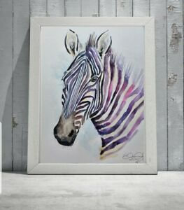 Large new Elle Smith original signed watercolour art painting of a Zebra animal