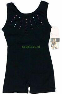 NEW Girls Gymnastic Dance Freestyle Unitard Black Size XS 4 5 Colored Rhinestone