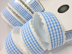 """10 yards Fancy Scallop Edge Gingham Check 7/8"""" Ribbon/Craft/Shower R96-Pink,Blue"""