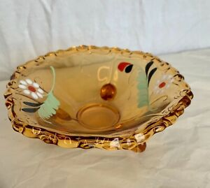 Hand painted amber colored glass trinket dish 3.5cm tall 12cm wide