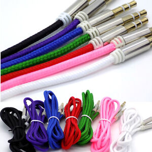 1m Audio Aux Cable Strong Braided 3.5mm Jack to Jack Stereo Plug Auxiliary Lead