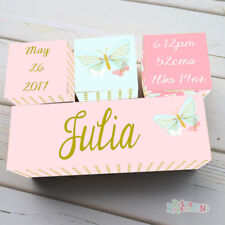 WOODEN BIRTH BLOCK NAME SET PERSONALISED NURSERY Baby Girl Butterfly Pink