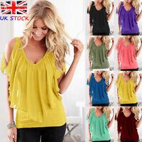 UK Womens Loose Oversize Casual Tee Plus Ladies Summer Blouse Short Sleeve Tops
