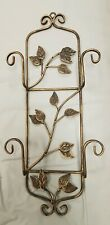 VERTICAL 2 PLATE or PICTURE FRAME HOLDER Hanger WALL DISPLAY WROUGHT IRON LEAVES
