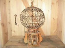 Antique Victorian Wood Metal Wire Bird Cage Vintage Hanging Old Large Circa 1800