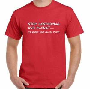 ENVIRONMENTAL T-SHIRT, Mens Stop Destroying Our Planet Ocean Pollution TEE TOP