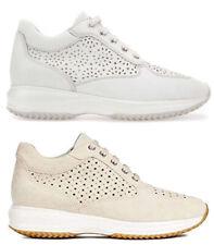 GEOX HAPPY D5262A scarpe donna pelle camoscio sneakers casual interactive zeppa