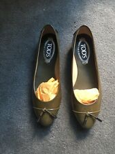 TOD'S OLIVE PATENT BALLERINA GOMMA LACCETTO BALLET FLATS SIZE 36