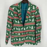 Suitmeister Men's Ugly Christmas Jacket Nordic Retro Green Reindeer Size S New