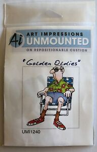 Art Impressions Unmounted Golden Oldies Rubber Stamp Norm Old Man Chair UMT1240