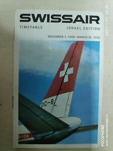 SWISSAIR AIRLINES HEBREW ENGLISH EDITION & TIMETABLE 1970 ISRAEL