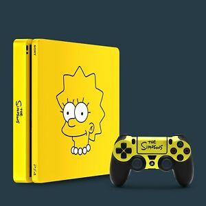 PS4 Slim Vinyl Skin & 2x Controller Skins, The Simpsons Lisa Simpson Themed.