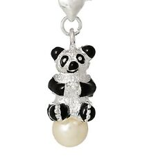 BLACK & SILVER PANDA ON A PEARL  CLIP ON CHARM FOR BRACELET - SILVER PLATE - NEW