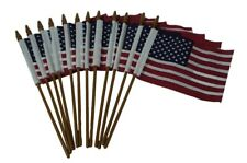 12 Pack 4x6 US American Hand Held Stick Flags with Gold Spear Top Made in USA