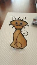 "Stained Glass""Cat"" sun catcher or ornament , 5 x 2   inch"
