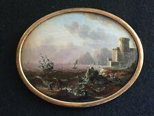 Miniature XVIIIéme siècle,  scène de port