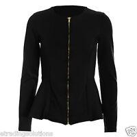 New Womens Ladies Textured Zip Up Peplum Long Sleeves Frill Blazer Top Jacket zp