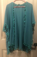 Womens Boho Green Kimono Cover Up With Tassels One Size