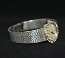 Longines 18K White Gold with Diamond Bezel Ladies Cocktail Watch C1970