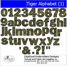 Embroidery Design CD - Tiger Alphabet(1) - 42 Designs - 9 Formats - Threadart