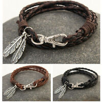 Fashion Men Women Leather Wrap Braided Wristband Cuff Punk Bracelet Bangle
