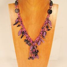 """18"""" Short Tassel Classic Vintage Purple Handmade Seed Bead Necklace"""