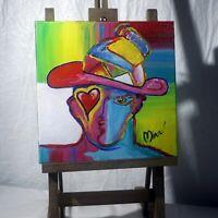 Man Portrait Painting Heart Eye and Hat Pop Art Style Artist Signed Mira COA