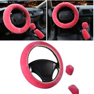 Fur Plush Steering Wheel Cover Natural Wool Fit For Car 37-38cm Steering Wheel
