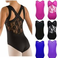 Girls Ballet Dance Dress Kids Gymnastics Leotard Lace Back Costume Tank Tops