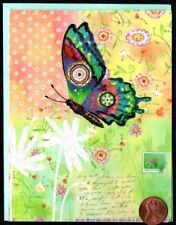 Beautiful Whimsical Butterfly Flowers Flying  -  Blank Note Card -NEW