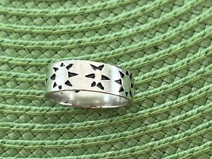 Vintage Mexico Sterling Silver Rope Sun Band Ring Sz 11.5