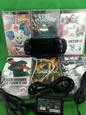 PSP Lot Charger 6 games Excellent Condition Reel Fishing Tiger MLB Tomb Raider
