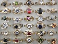 Job Lots 30pcs Rhinestone Big Zirconia Gold P Colorful Charm Top Quality rings