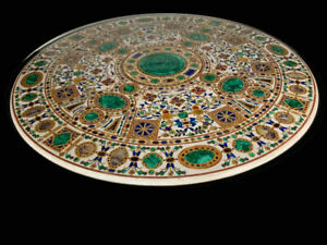 "48"" Marble Dining Table Top Inlay Rare Semi Round Center Coffee Table AR0694"