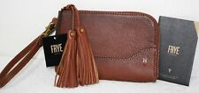 NWT $128 FRYE Paige Cognac Genuine Leather Wristlet Wallet Bag Clutch