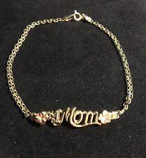 "10 Kt Yellow Gold ""#1 Mom"" Bracelet W/ Rose Gold Flowers 7.5"" VGC"