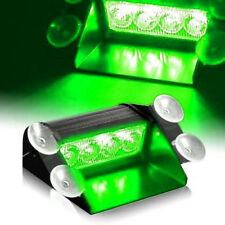 4LED Car Truck Emergency Warning Flashing Strobe Windshield Dash Light Green12V