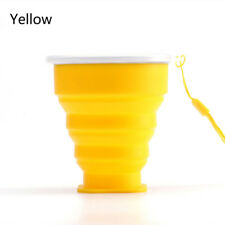 Portable Silicone Telescopic Drinking Collapsible Folding Cup Travel Camping Hot Yellow