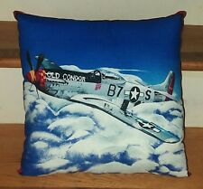 "P-51D Mustang Old Condor WII Plane Throw Pillow Handmade Approx 13"" x 13"""