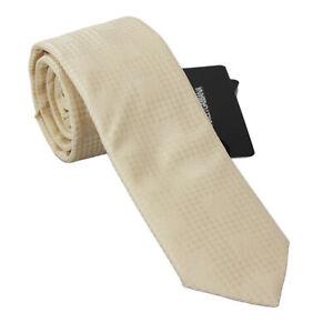 DOLCE & GABBANA Tie Cream Beige Pattern Classic Mens Slim Necktie