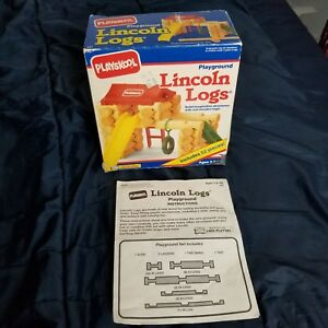 Vintage Playskool Playground Lincoln Logs 52 Pieces Swing Missing 1992
